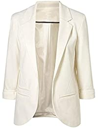 Minetom Mujer Manga 3/4 Blazer Elegante Oficina Negocios Parte Traje De Chaqueta Slim Fit Abrigo Cardigan Outwear Blusa Top