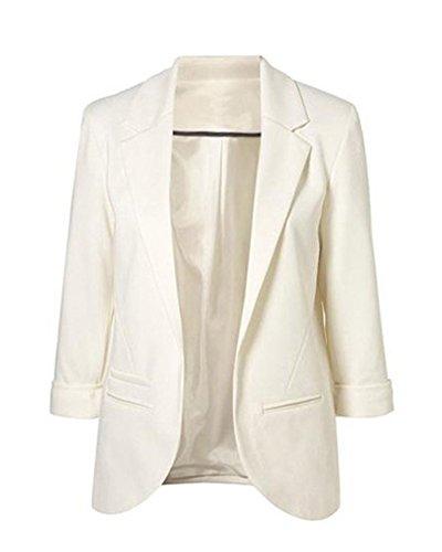 Minetom Femme Élégant Blazer à Manches Longues Slim Fit OL Veste De Costume Basique Ajusté Manteau Cardigan Blouson Jacket Blanc FR 36
