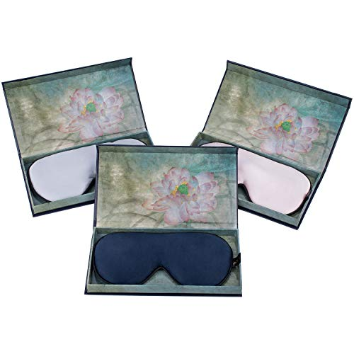 Máscara de Sueño, Antifaz para Dormir,Máscara de Noche,Con Caja de Regalo de Lujo,Ergonómico Máscara de Viaje Máscara para Los Ojos100% Seda Natural Opaco Ultra-douce para Dormir con Bolsa de Viaje