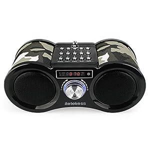Retekess V113 Radio Digital Portátil Bass Radio Boombox Radio FM Estéreo con MP3 y Control Remoto (Camuflaje)
