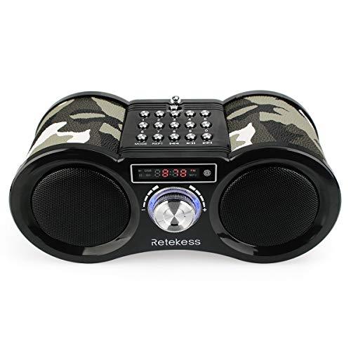 Retekess v113 radio portatile fm digitale radio stereo altoparlante incorporato con mp3 e remoto controllo(camouflage)