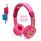 Auriculares para Niños, EasySMX Headphone Niños con Volumen Limitado de 85dB, Separador de 3.5mm Jack para Compartir y Mic, Auriculares Infantiles con In-line Control para Niños de 3-12 Edad (Rosa)
