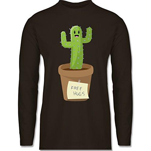 Statement Shirts - Free Hugs - Longsleeve / langärmeliges T-Shirt für Herren Braun