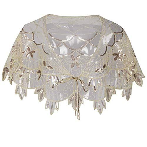 Yvelands Damen Schal 1920er Jahre Schal Perlen Pailletten Deko Abend Bolero Flapper vertuschen