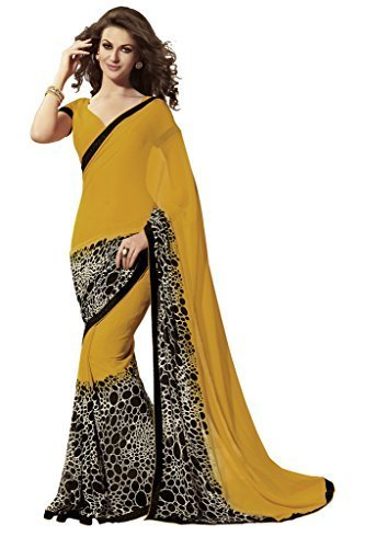 LEENA COLLECTION Premium Georgette Saree With Blouse Piece (LC_YELLOW BLACK_SSC SAREES_Mustard Yellow_Free...