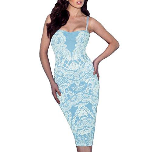 mywy - Abito donna tubino bretelle aderente vestito stampa pizzo scollo cuore vestitino polvere
