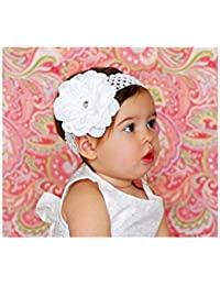 Bandeau+barrette bébé/fille, modèle Pétunia blanc (A)