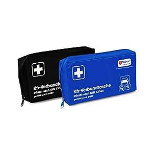Kfz-Verbandtasche Auto Verbandkasten mit Malteser Anwendungsbroschüre DIN 13164 (Blau)