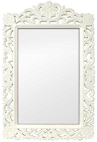 Innova 22 x 83,82 cm Casa diseño de filigrana de flores de madera de densidad media Espejo, Vintage y Color blanco cubre