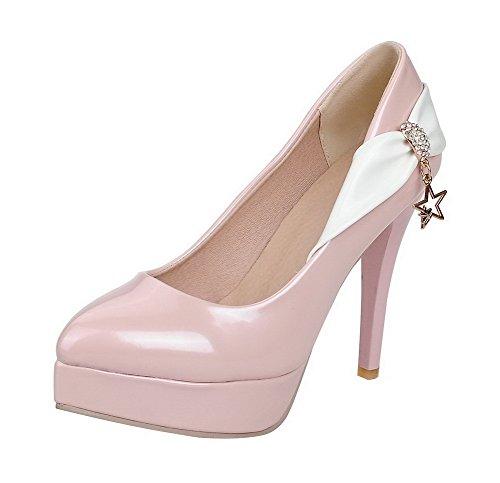 VogueZone009 Femme Pu Cuir à Talon Haut Pointu Couleurs Mélangées Tire Chaussures Légeres Rose