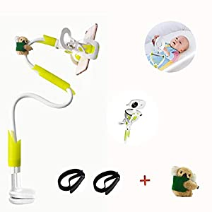 DQTYE Universal Baby Monitor Holder with Straps Infant Video Shelf with Flexible Long Arm Hose Camera Phone Mount 360 Degree Rotation for Bedroom Office Baby Cot + Cable Clip - Green   5