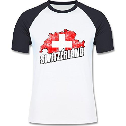 EM 2016 - Frankreich - Switzerland Umriss Vintage - zweifarbiges Baseballshirt für Männer Weiß/Navy Blau
