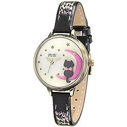 Cute Cartoon Cat Luxury Leather Strap Quartz Women Girl Wrist Watch,Black