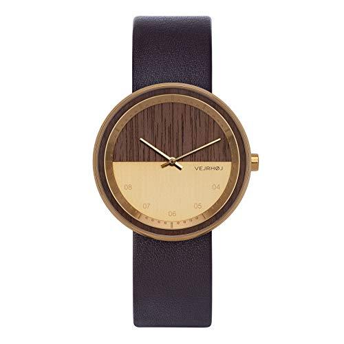 VEJRHØJ - Holzuhren | The Gold | Holz Armbanduhr aus Walnussholz & Edelstahl | Skandinavisches Design | Unisex für Herren & Damen |