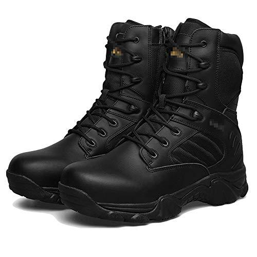 Herren High-Top-Wüstenstiefel Wanderschuhe aus Leder Schnürschuhe rutschfeste Schuhe Trekkingschuhe Verschleißfeste All-Terrain-Stiefel,Black-42 Terrain Stiefel