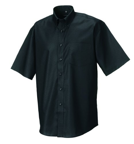 Z933 Kurzärmeliges Oxford Hemd Oberhemd Herrenhemd 4XL / 49/50,Black -