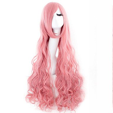 hjl-parrucca of Hair Curly Long Wig Cosplay of Pink Silk Warm Hot Sale As The Cakes, Pink
