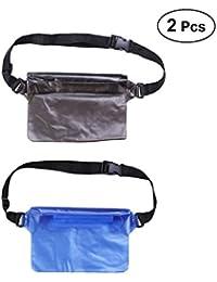 2 PCS Waterproof Waist Bags For Outdoor Phone Belongings Portable Waist Pouches Multifunctional Waist Bags (Black...