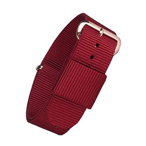 NATO Canvas Stoff Uhrenarmbänder Ersatz mit vorzüglichem Rose Gold Edelstahl-Wölbung (rot) -