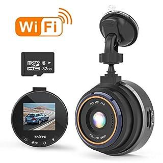 THIEYE WiFi Dashcam 1080P Full HD AutoKamera Video Recorde mit 32G SD Kart für Fahrzeuge mit 170 ° WDR Bewegungserkennung, Parkmonitor, Loop-Aufnahme, Nachtsicht und G-Sensor Safeel Zero+
