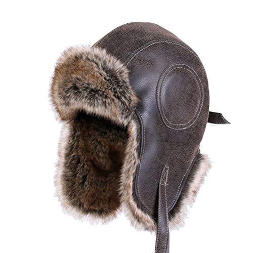 Männer Russh Uschanka Vintage Bomber Hüte Pu-Leder Winter Motorrad Maske Pilot Plüsch Aviator Earflap Frauen - Faux Leder-rahmen