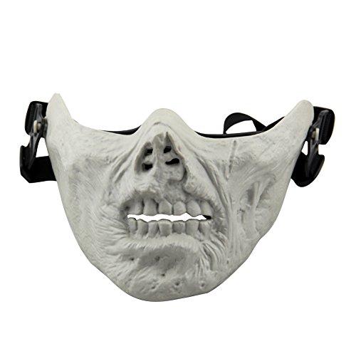 aiyuda Totenkopf Skelett Half Face Maske Hard Schutz Gear für Airsoft Paintball Jagd CS Planspiel Masquerade Kostüm Party Halloween, Herren, Zomebie Grey White (White Ghost Lady Kostüm)