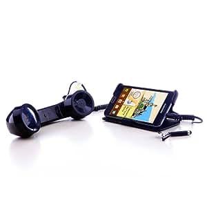 LEICKE Retro Telefonhörer Lautsprecher Handset Mikrofon für Smartphones und Handys - 3,5 mm Klinken-Stecker - schwarz glänzend (auch in pink und blau)