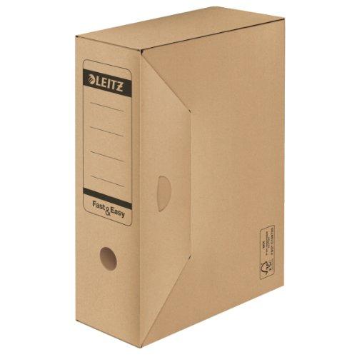 Leitz Archiv-Schachtel Fast & Easy, 100mm, mit Verschlußlasche, naturbraun (Karton-recycling-container)