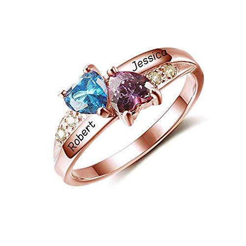 Purestary Personalisierte Simulierte Birthstones Versprechen Ringe für Ihre gravierten Namen Engagement Ringe Bridesmaid Geschenke -