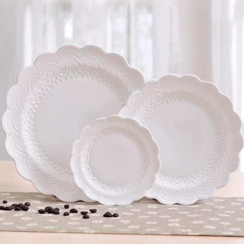XOSHX Weißer Spitzen-Knochen-Teller-Teller-runder geprägter Keramik-Geschirr-Imbiß/Frucht- / Kuchen-Platte (Kunststoff-platten Mit Gold Trim)
