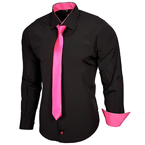 Rusty Neal Schwarz Herren Hemd mit Krawatte Kontrast Langarm Polo Shirt Party Slim Fit R-44 Schwarz / Pink