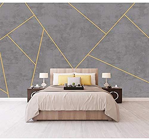 Bacaz Effetto cemento Linee dorate Carta da parati geometrica per camera da letto TV Sfondo Fotomurale 3D Fotomurale 3D Carta da parati Adesivi-200x140cm