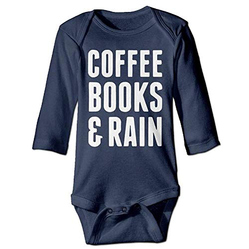 Bodysuits Coffee Books & Rain Boys Babysuit Long Sleeve Jumpsuit Sunsuit Outfit Navy ()