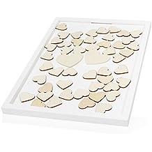 Lumaland Libro de invitados de boda corazones de madera diseño s individual 73 piezas de 4