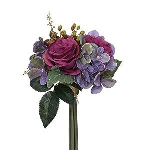 FS Paquete de rosas artificiales de 28 cm, color morado y rosa de vino y hortensias con follaje otoñal