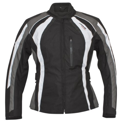 ROLEFF RACEWEAR Damen Motorradjacke Venedig RO 980, schwarz/weiß/grau, XXL, 9806