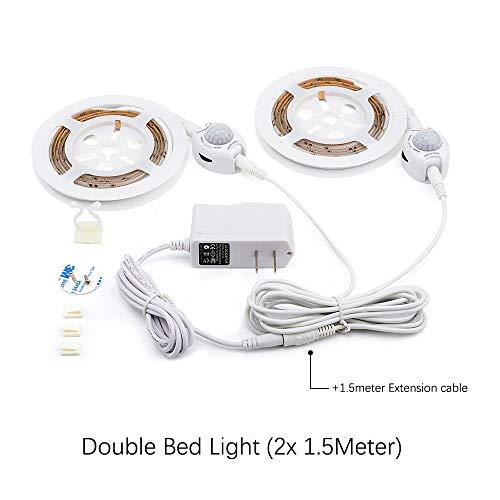 FGKING Unter Bettwchtung, LED-Kabinette Beleuchtung Streifen, LED Motion aktivierte Bett-Licht-8ft Flexible Strippenleuchten, wasserdicht, Dual-Sensor, Stromversorgung inklusive,2.4m/8ft -