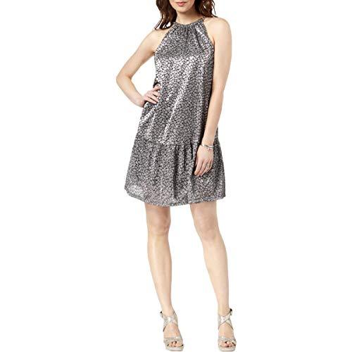 MICHAEL Michael Kors Womens Metallic Animal Print Cocktail Dress Silver L Michael Kors Animal Print