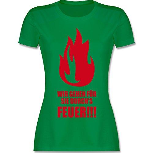 Feuerwehr - Wir gehen für Sie durchs Feuer - tailliertes Premium T-Shirt mit Rundhalsausschnitt für Damen Grün
