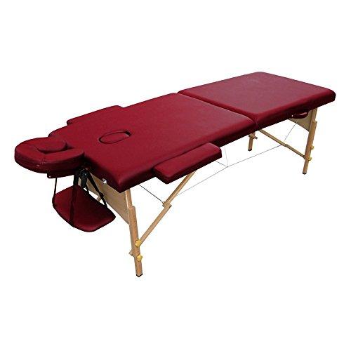 HENGMEI 2 Zonen Klappbar Tragbare Massagetisch Massageliege Massagebett Massagestuhl Holzfüßen Höhenverstellbaren mit Kopfstütze (Weinrot)