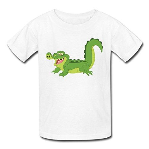Mid-night Unisex Kinder Comic Alligator stehend T-Shirt Gr. Large, weiß - Alligator-erwachsenen T-shirt