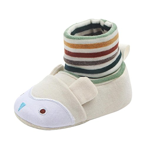 KanLin Newborn Toddler First Walkers Baby Round Toe Flats Soft Slippers Shoes (9Month, Beige)