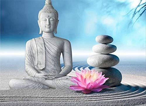 zxx5d 5D Diamond Painting 60X80Cm Orchidee Buddha Full Bilder Groß Runde Steine Crystal Strass Diamond Stickerei Set Kreuzstich Mosaik Für Kinder Anfänger Frameless
