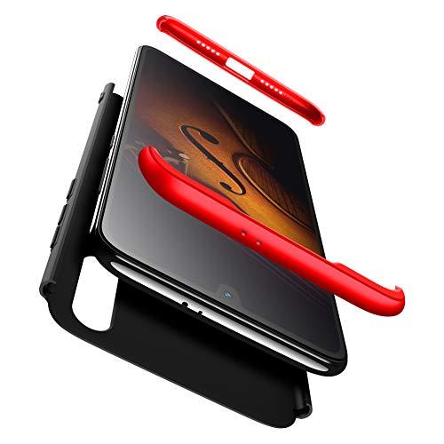 Funda Compatible XiaoMi Mi 9 SE AChris 3 en 1 Completa Protectora Carcasa con Cristal Templado PC Case Ultra-Slim Absorción de Choque Resistente [Compatible con Carga Inalámbrica]- Rojo