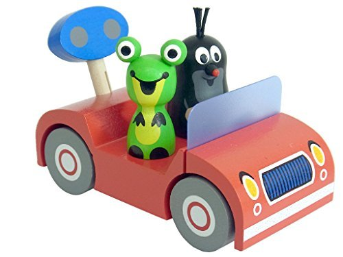 Little Mole and Frog krtek on a Trip in a mini red wooden car by Detoa 13883/2 by Little Mole