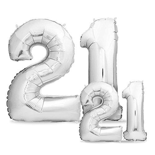 rtstag XXL Silber - Riesen Folienballon in 2 Größen 40