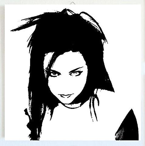 Evanescence–Amy Lee–Cadre moderne–Bois Panneau MDF peint à la main POP ART Effect (format 30x 30cm)