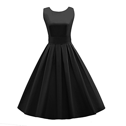 LUOUSE Sommer Damen Ohne Arm Kleid Dress Vintage kleid Junger abendkleid - E034-Noir - 42