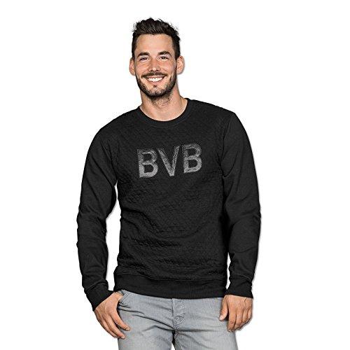 BVB Herren Sweatshirt Mit Steppmuster, schwarz, XL, 2466267