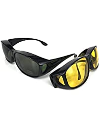 Fit over sunglasses - Fit over glasses | Set of 2 PCS | 2 FOR THE PRICE OF 1| Extra large sunglasses | For driving DAY and NIGHT | Anti UV400 protection sunglasses and Night driving glasses